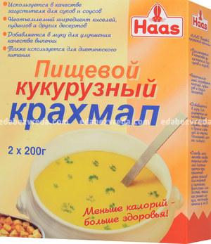 Крахмал кукурузный Haas (2 упаковки по 200 г), 400 г.);