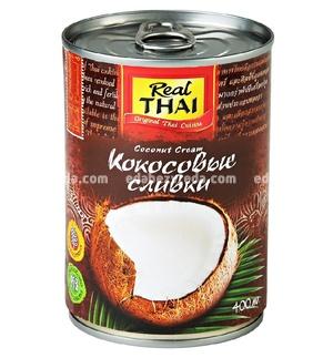 Кокосовые сливки REAL THAI ж/б, 400 мл.);