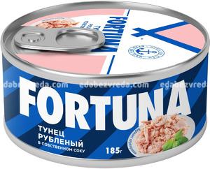 Тунец Fortuna рубленый в собственном соку, 185 г.);