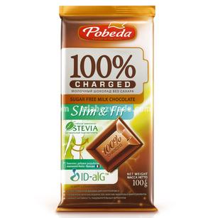 """Шоколад молочный Slim&Fit Charged без сахара """"Победа"""", 100 г.);"""
