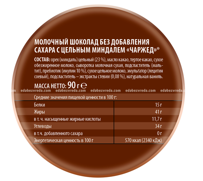 "Шоколад молочный с миндалём без сахара Charged ""Победа"", 90 г."
