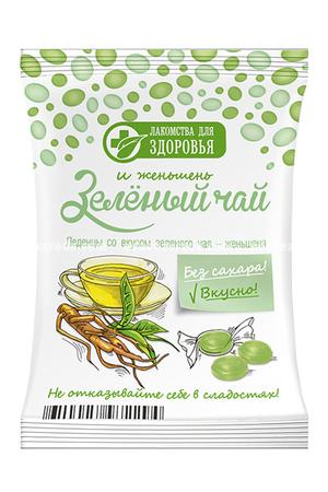 """Леденцы на изомальте """"Лакомства для здоровья"""" Зелёный чай и Женьшень, 50 г"""