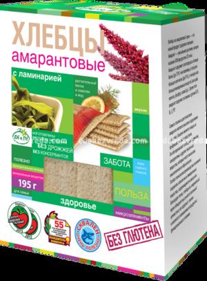 Хлебцы амарантовые DI&DI с ламинарией, 195 г.);