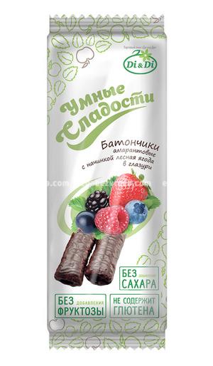 """Батончик амарантовый """"Умные сладости"""" Лесные ягоды в глазури, 20 г);"""