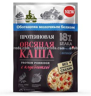 Каша протеиновая овсяная Bionova с клубникой, 40 г.);
