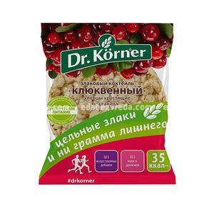 """Хлебцы Dr.Korner """"Злаковый коктейль"""" Клюквенный, 11 г);"""