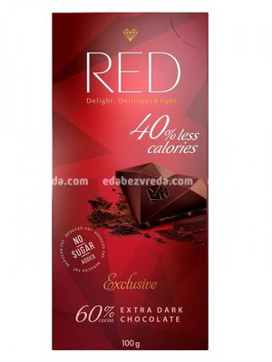 Шоколад Red Delight Тёмный Экстра 60% какао, 100 г.);