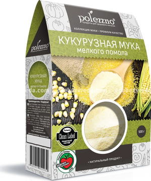 Мука кукурузная мелкого помола POLEZZNO, 500 г.);