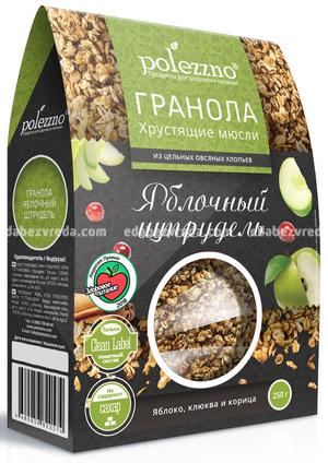 Гранола POLEZZNO Яблочный штрудель, 250 г.);