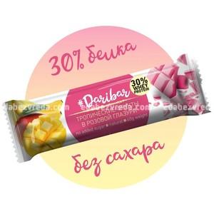 Батончик в розовой глазури DariBar Тропические фрукты (манго-банан), 40 г.);