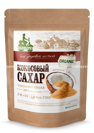 Сахар кокосовый Bionova органический, 200 г.);