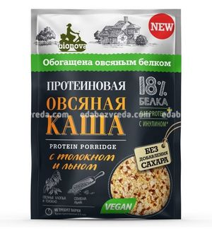 Каша протеиновая овсяная Bionova с толокном и семенами льна, 40 г.);