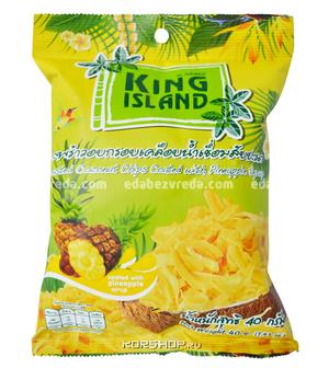 Кокосовые чипсы King Island со вкусом ананаса, 40 г);