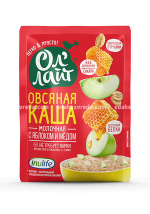 """Молочная овсяная каша """"Ол'Лайт"""" с яблоком и мёдом, 40 г.);"""