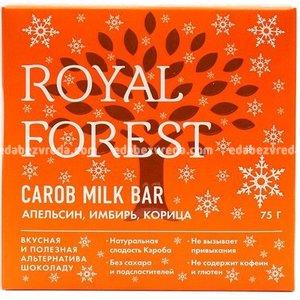Шоколад из кэроба Royal Forest с апельсином, имбирём и корицей, 75 г);