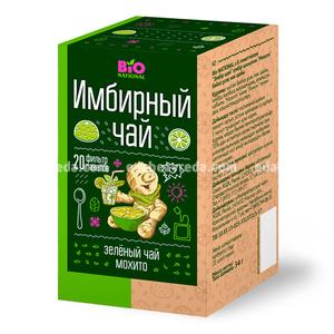 "Чай имбирный зелёный BIO NATIONAL ""Мохито"", 20 пак.);"