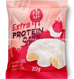 Протеиновое печенье FIT KIT WHITE EXTRA CAKE Малина-Йогурт, 70 г.);