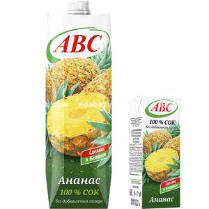 Сок ананасовый без сахара ABC SLIM, 0.2 л.);
