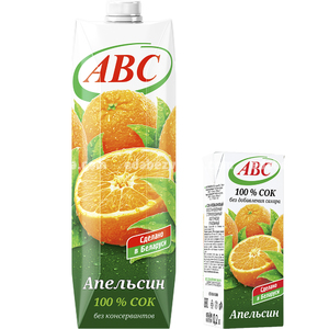 Сок апельсиновый без сахара ABC SLIM, 200 мл.);