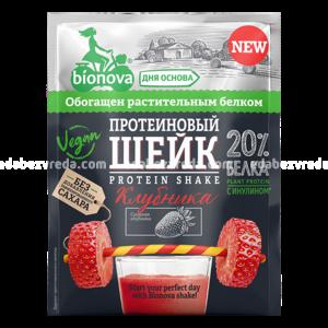 Шейк протеиновый Bionova с клубникой, 25 г.);