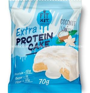 Протеиновое печенье FIT KIT WHITE EXTRA CAKE Кокос-Ваниль, 70 г.);