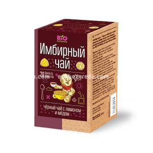 Чай имбирный чёрный BIO NATIONAL с мёдом и лимоном, 20 пак.);