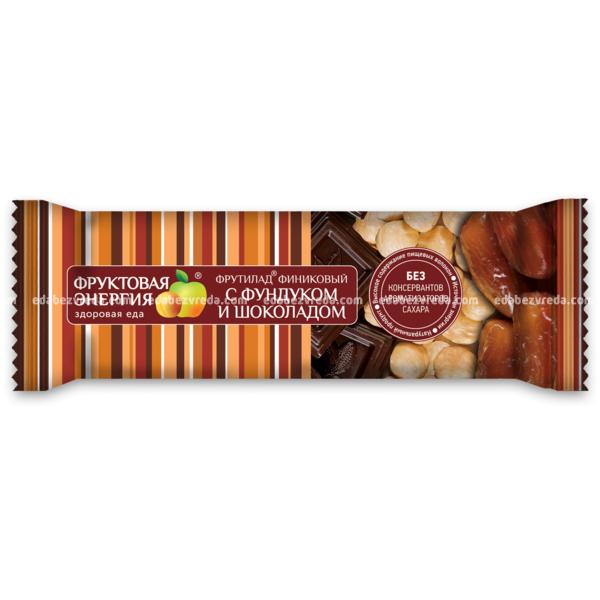 """Батончик """"Фрутилад"""" финиковый с фундуком и шоколадом, 42 г."""