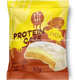 Протеиновое печенье FIT KIT WHITE CAKE Лимон-Миндаль, 70 г.);