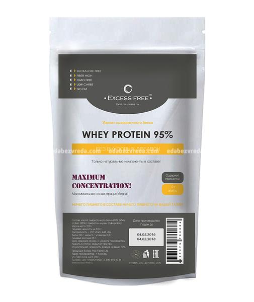 Изолят сывороточного белка 95% Excess Free, 200 г.