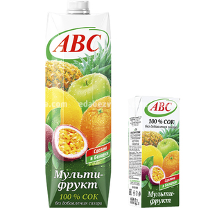 Сок мультифруктовый без сахара ABC SLIM, 0.2 л.);