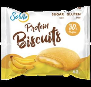 "Печенье протеиновое с белково-кремовой начинкой ""Банан"" Protein Biscuits Solvie, 40 г."