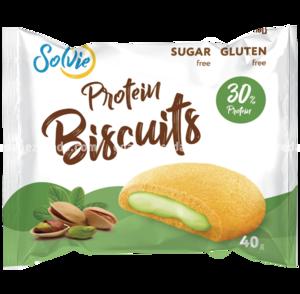 "Печенье протеиновое с белково-кремовой начинкой ""Фисташка"" Protein Biscuits Solvie, 40 г."