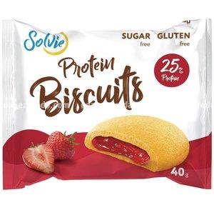 """Протеиновое печенье с низкокалорийной ягодной начинкой """"Клубника"""" Protein Biscuits Solvie, 40 г."""