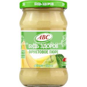 """Пюре яблочно-банановое """"Будь Здоров"""" ABC, 280 г.);"""