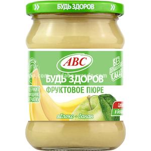 """Пюре яблочно-банановое """"Будь Здоров"""" ABC, 450 г.);"""
