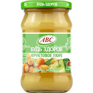 """Пюре яблочно-облепиховое """"Будь Здоров"""" ABC, 280 г.);"""