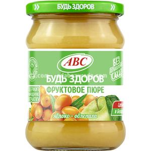 """Пюре яблочно-облепиховое """"Будь Здоров"""" ABC, 450 г.);"""