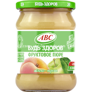 """Пюре яблочно-персиковое """"Будь Здоров"""" ABC, 450 г.);"""