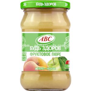 """Пюре яблочно-персиковое """"Будь Здоров"""" ABC, 280 г.);"""