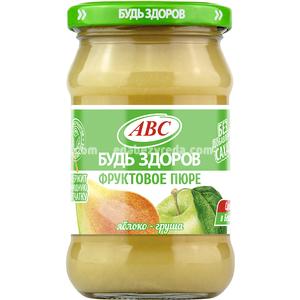 """Пюре яблочно-грушевое """"Будь Здоров"""" ABC, 280 г.);"""