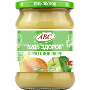 """Пюре яблочно-грушевое""""Будь Здоров"""" ABC, 450 г.);"""