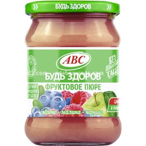 """Пюре яблоко-малина-черника """"Фруктовый микс"""" ABC, 450 г.);"""