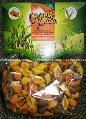 Макароны Organic Pasta конкилье без глютена, 250 г);