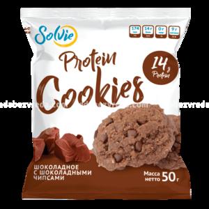 Протеиновое шоколадное печенье с шоколадными чипсами Protein Cookies Solvie, 50 г.