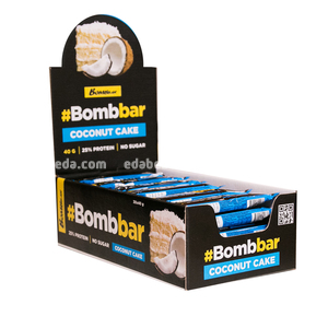 Батончик протеиновый в глазури BOMBBAR Кокосовый торт, 40 г.);