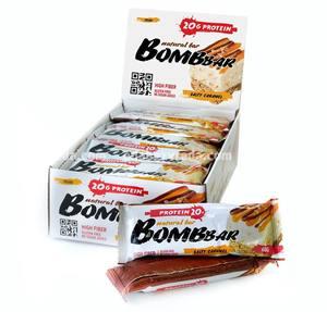 Батончик протеиновый BOMBBAR Солёная карамель, 60 г);