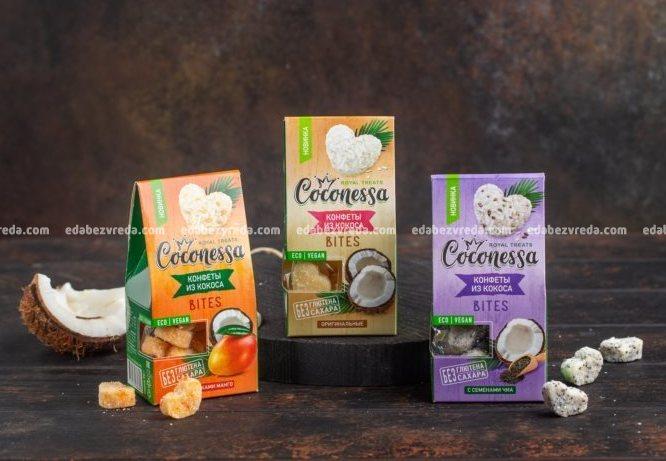 Конфеты из кокоса Coconessa С кусочками манго, 90 г