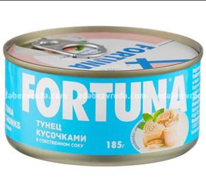 Тунец Fortuna кусочками в собственном соку, 185 г.);