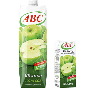 Сок яблочный без сахара ABC, 1 л.);
